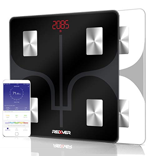 Digital Body Fat - REDOVER-Bluetooth Body Fat Scale with Free IOS and Android App, Smart Wireless Digital Bathroom Scale for Body Weight, Body Fat, Water, Muscle Mass, BMI, BMR, Bone Mass and Visceral Fat, 400lb (Black)