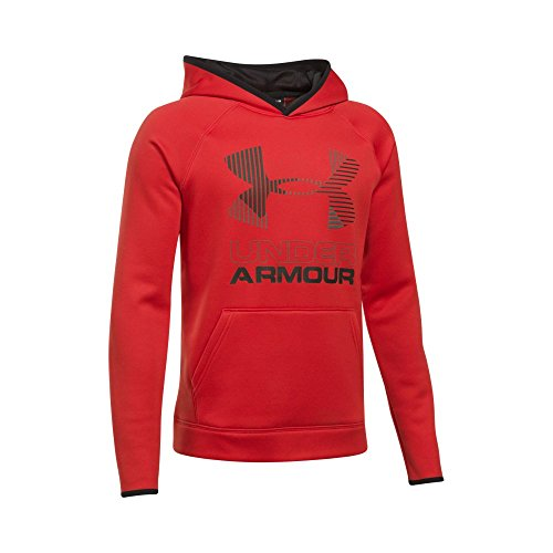 Under Armour Boys' Armour Fleece Solid Big Logo Hoodie, Red/Graphite, Youth Medium (Big Logo Hoodie)