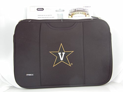 - National College Athletic Association NCAA Tribeca Gear Commodores Vanderbilt University Black Laptop Sleeve for 15-inch to 16-inch Laptop and Macbook Pro 15 Notebook Breathe Sleeve