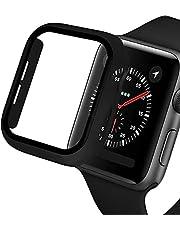 VeveXiao Compatibel met Apple Watch Series 7 45mm 41mm Screen Protector, iWatch PC Case PET Film Allround Bumper Beschermende Cover Voor iWatch 7 Smartwatch Accessoires (Zwart, 45mm)