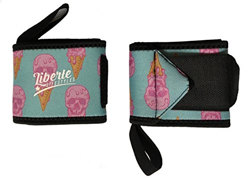 Skull Ice Cream - Liberte Lifestyles 3mm Neoprene Wrist Wraps (Pair) - Ice-Scream Ice Cream Skulls Print