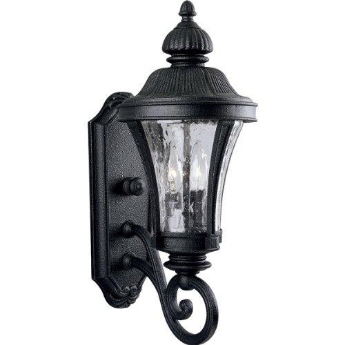 71 Nottington Gilded Iron - Progress Lighting P5835-71 2-Light Wall Lantern with Water Glass Panels, Gilded Iron