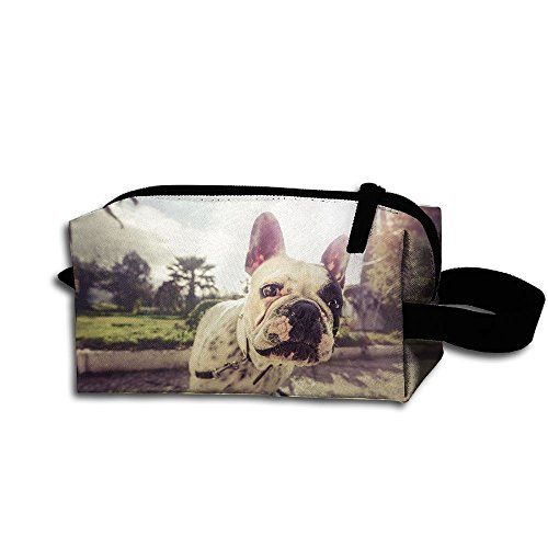 Bulldog Wristband - Clash Durable Zipper Wallet Makeup Handbag With Wrist Band Bulldog Dog Toiletry Bag