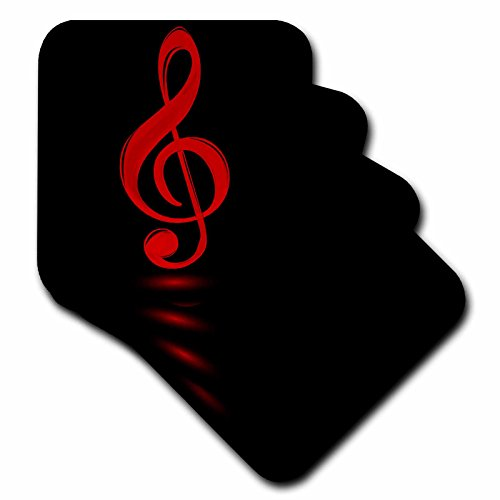 3dRose Red Treble Clef - Soft Coasters, Set of 8 (cst_111574_2)