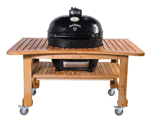 Primo Oval XL 400 Ceramic Smoker Grill On Curved Cypress Table, Jack Daniel's Edition by Primo