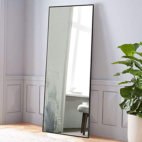 NeuType Full Length Mirror Standing Hanging or Leaning Against Wall, Large Rectangle Bedroom Mirror Floor Mirror Dressing Mirror Wall-Mounted Mirror, Aluminum Alloy Thin Frame, Black, 65