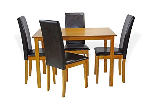 Maple Dinette - SunBear Furniture Dining Kitchen Set of 5 Rectangular Table and 4 Side Chairs Fallabella Wooden, Maple