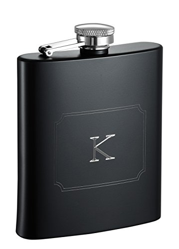 Visol Raven Personalized Flask with Initial Engraved, Monogram K, Black from Visol
