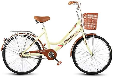 KUYT Bicicleta de Carretera para Exteriores para Mujer Adulta de 24 Pulgadas en Acero al Carbono de Alta dureza con Cesta para el automóvil Evita el Clip de la Falda,Beige: Amazon.es: Deportes