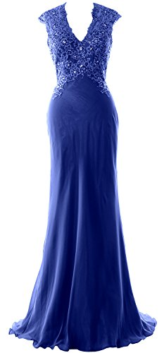 MACloth Women V Neck Evening Formal Gown Lace Chiffon Mother of the Bride Dress Royal Blue GGBay7PF