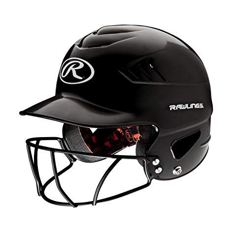 - Rawlings Coolflo NOCSAE Molded Batting Helmet with Face Guard, Black, One Size
