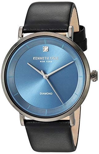 Kenneth Cole New York Men's Geniune Diamond Stainless Steel Analog-Quartz Watch with Leather Strap, Black, 21.9 (Model: KC50567009) (Kenneth Cole Watch Band Men)