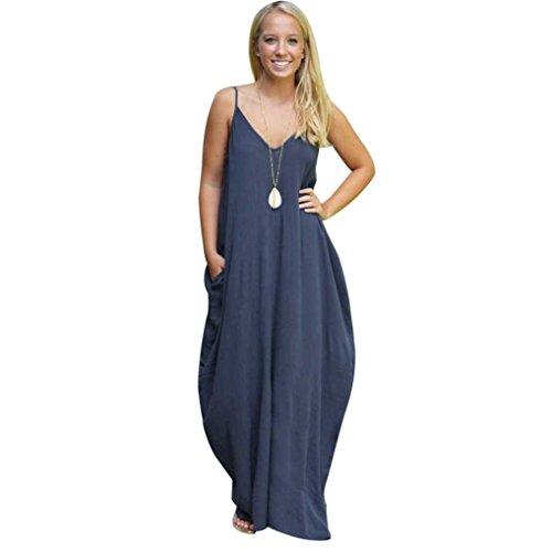 Sunward(TM) Sexy Gallus Women Summer Boho Long Maxi Beach Dresses (XLarge, Navy)