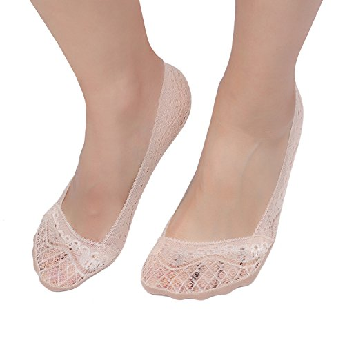 (Women's 4 Pairs Low Cut Lace No Show Liner Socks Cotton Bottom Non Slip (Beige))