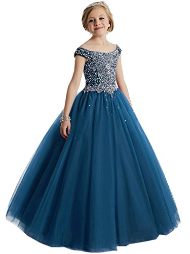 WZY Big Girls Beaded Floor Length Prom Party Gowns Pageant Dresses US 14 Dark Blue-2 by WZY