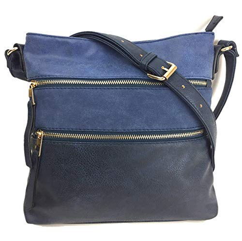 Designer Handbags for Ladies MEGAN Medium Size Smart & Compact Across Body shoulder Bag with Multi Pockets in High Quality Supple Grained PU Leather. Blue Multi