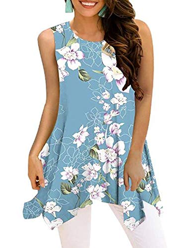 Viracy Womens Summer Sleeveless Tunics Loose Pleated Tops with Handkerchief Hem (XX-Large, 04-Sky Blue)