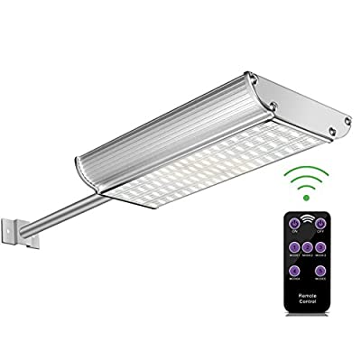 Getseason Solar Lights Outdoor, Aluminum Wall Sconces with Mounting Pole, Radar Motion Sensor and Remote Control, 70 LEDs Waterproof Security Lighting for Barn Porch Garage 3000Mah