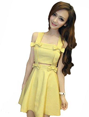 罪解決夜明けにKimBerley リボン セパレート風 フレア ミニ ワンピース ドレスライン キャバドレス ナイトドレス キャバ嬢 ファッション 黄色 セクシー