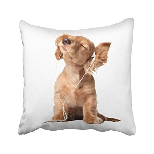 - soopat Soft Soild Decorative Square Throw Pillow Covers Set Cushion Case young puppy listening to music on headphones for Sofa Bedroom Car 20 x 20 Inch 51 x 51 Cm