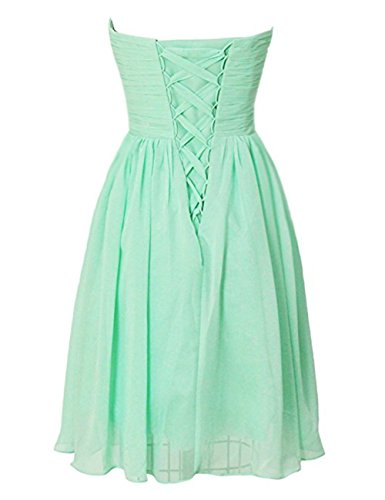 Evening Length Mint Yiwa Dress Skirt S Green Knee Pleated Strapless Sweetheart Chiffon Bridesmaid Women's 0qHAx8