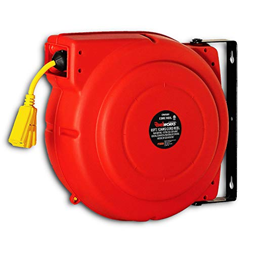 ReelWorks Heavy Duty Extension Cord Reel With Swivel Bracket, 12AWG/3C SJT, Triple Tap, 65 ()
