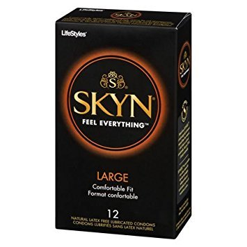 Lifestyles SKYN Large, Premium LARGE NON-LATEX Lubricated Condoms with Silver Pocket/Travel Case-12 Count