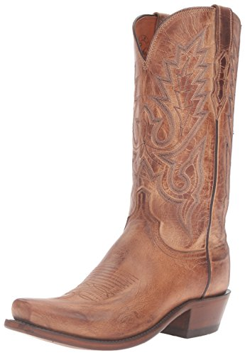 Image of Lucchese Bootmaker Men's Lewis-tan Mad Dog Goat Riding Boot, Burnish, 9 D US