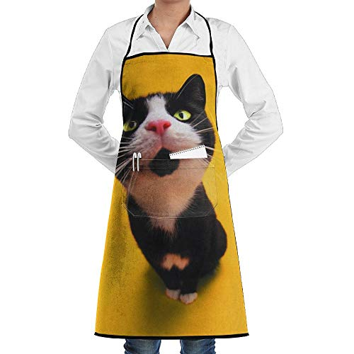LOGENLIKE Funny Cat Kitchen Aprons, Adjustable Classic Barbecue Apron Baker Restaurant Black Bib Apron With Pockets For Men And Women