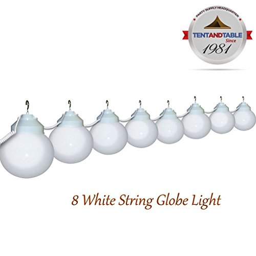 8 Globe White Color String Lights Designed for Lighting Outdoor Parties and Events