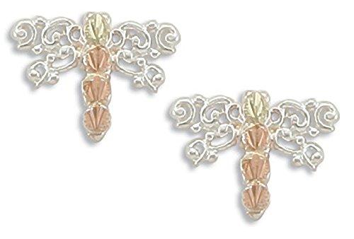 Landstroms Black Hills Silver Dragonfly Earrings, 12K Gold Leaves