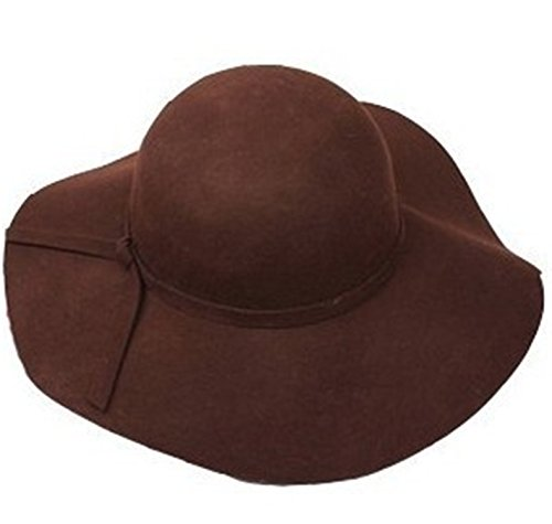 Donna Pierce 100% pure wool caps fedoras Hofn's stetson beach floppy wide brim sun hat foldable with tie for women autumn-summer coffee ()