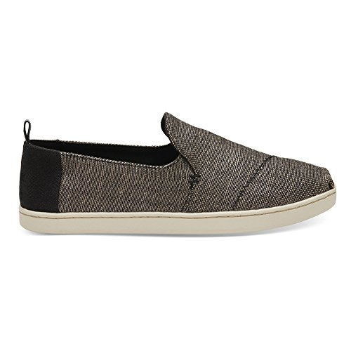 TOMS Women's Deconstructed Alpargata Black Metallic Woven 7 B US (Multi Black Tom)