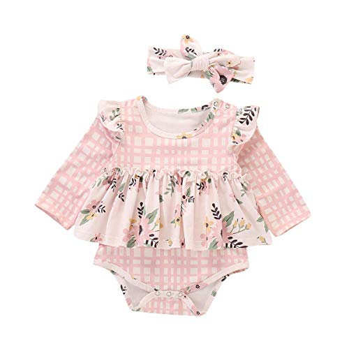 (Newborn Baby Clothes Girl Romper Long Sleeve Ruffle Plaid Floral Princess Onesies Romper Outfits with Headband 3-6 Months)