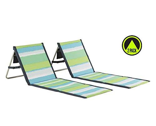 Lightspeed Outdoors 2 Pack Lounger Park And Beach Chair (Green Stripes)