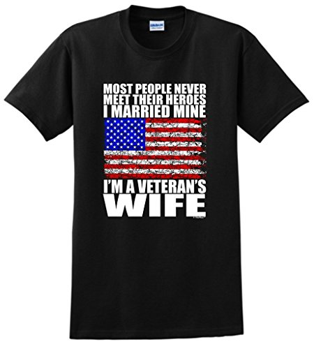 Veteran's Wife Family Gift Hero Married Mine T-Shirt XL Black