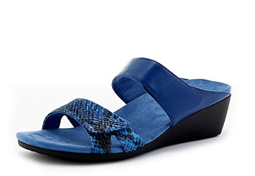 Slip Chrissy UK 6 Vionic Sandal Orthotic On Wedge Blue qEffAOw