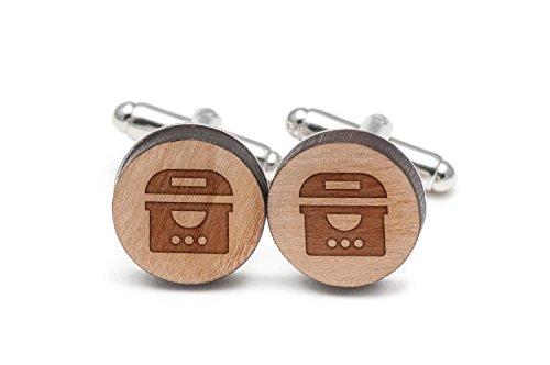 Electric Fryer Cufflinks, Wood Cufflinks Hand Made in the USA