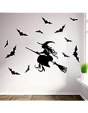 Halloween Raamstickers - Heks Vleermuis Verwijderbare Decals Voor Kinderkamer Achtergrond Muursticker, Halloween Party Diy Decoraties Decals