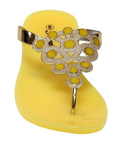 Forever Fairy-23 Mujeres Floral Golden Crystal Thong Correa De Tobillo Ajustable Verano Color Suela De Goma Chanclas Amarillo 8