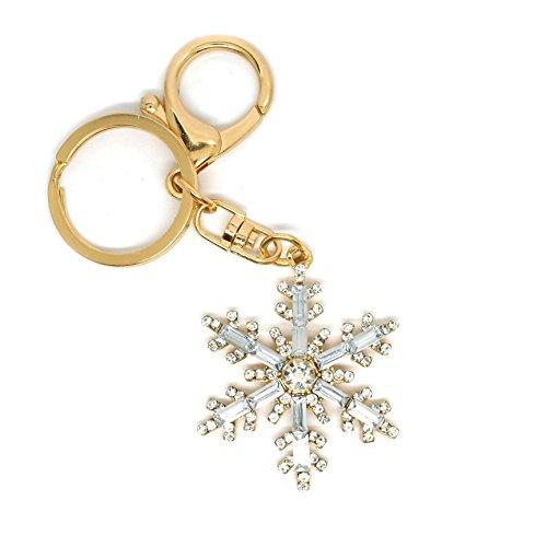 er Snowflake Crystal Clear Rhinestone Women Fashion Charm Keychain (Gold) (Snowflake Design Key Ring)