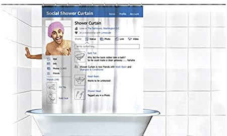 Hilarious Social Media Facebook Shower Curtain Gag Gift