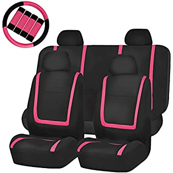 FH GROUP FB032114 Unique Flat Cloth Full Set Car Seat Covers Pink Black With FH2033 Steering Wheel Cover And Belt Pads Fit Most Truck Suv