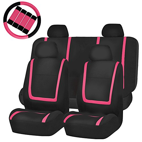 FH GROUP FH-FB032114 Unique Flat Cloth Full Set Car Seat Covers, Pink / Black with FH2033 Steering Wheel Cover and Seat Belt Pads- Fit Most Car, Truck, Suv, or Van