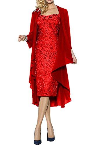 Festlichkleider Marie Damen La Chiffon Abendkleider Bolero Langarm Promkleider Dunkel Rot Kurz Braut Brautmutterkleider XF66Tx