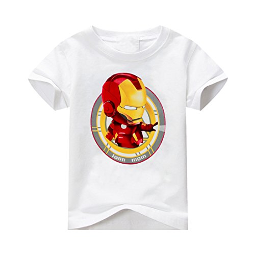 Ironman Shirt for Kids Boys Graphic Tee Soft Cotton Short Sleeve Toddler Costume T-shirt