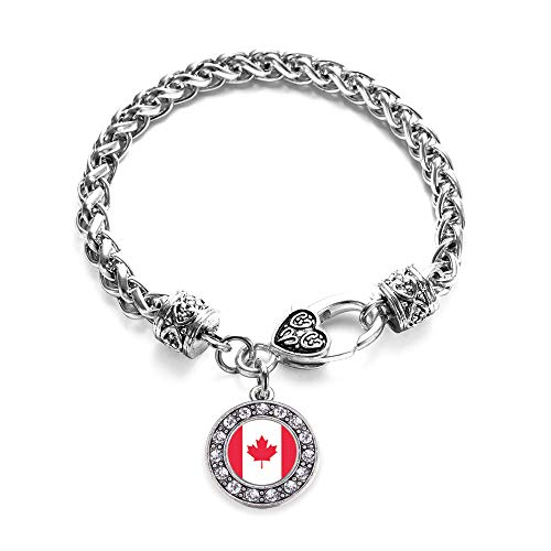 Canadian Jewelry - Inspired Silver - Canadian Flag Braided Bracelet for Women - Silver Circle Charm Bracelet with Cubic Zirconia Jewelry