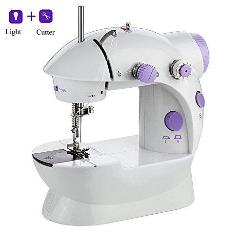 Alisaouse Mini Electric Sewing Machine with Light & Cutter Double Thread 2 Speed Adjustment for ()