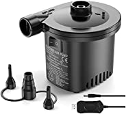 Electric Air Pump, Rechargeable Air Pump, 2 in 1 Quick-Fill Inflator and Deflator Pump for Air Mattress Air Be