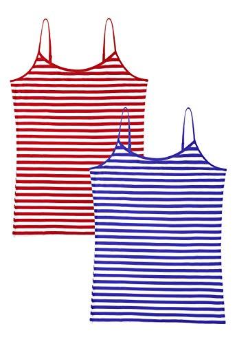 Small Spaghetti Womens - Vislivin Women's Basic Solid Camisole Adjustable Spaghetti Strap Tank Top Red Blue Stripe XL